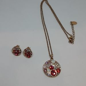 Rose Gold Vermeil Pink Crystal Jewelry Set